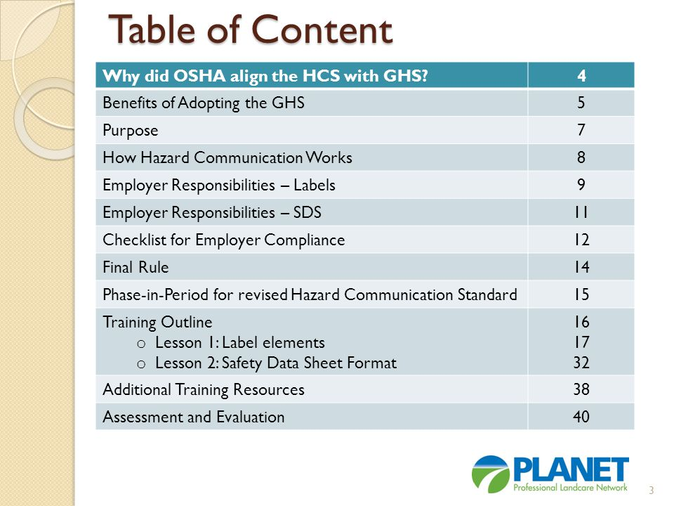 Table of Content 4 Why did OSHA align the HCS with GHS 5