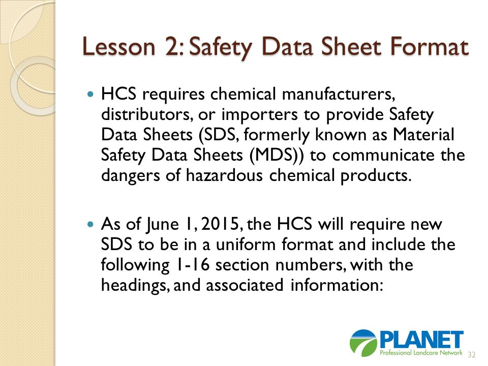Lesson 2: Safety Data Sheet Format