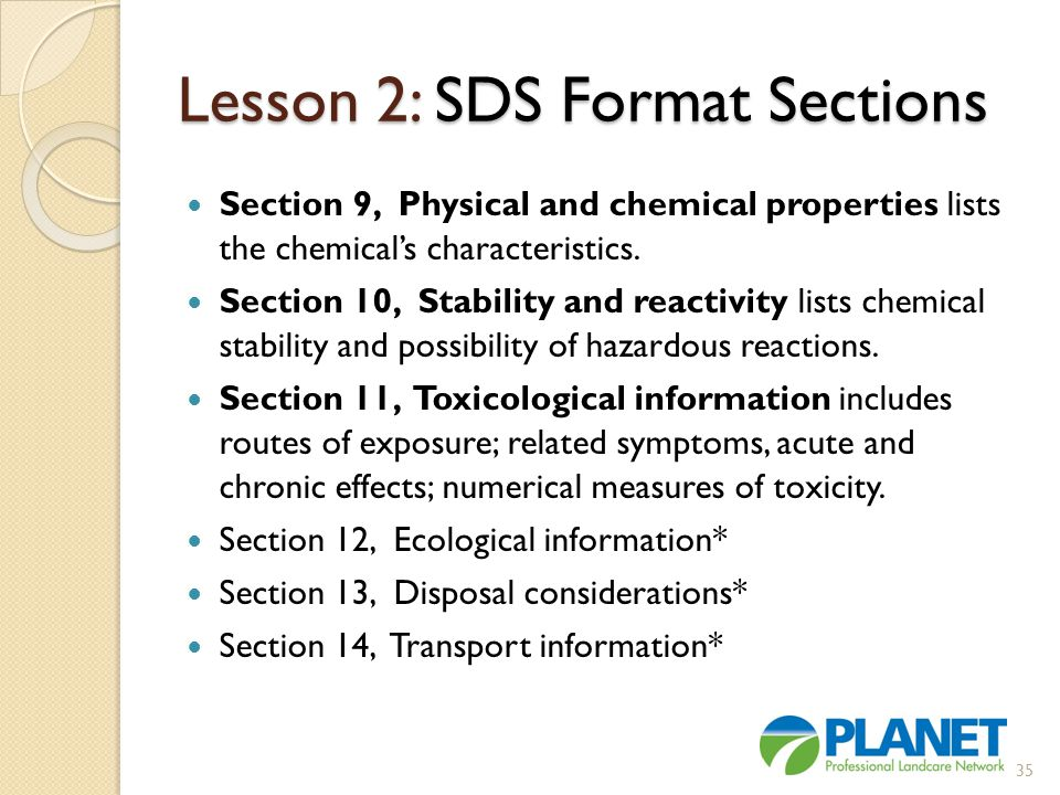 Lesson 2: SDS Format Sections