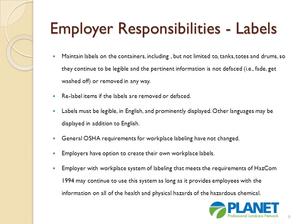 Employer Responsibilities - Labels