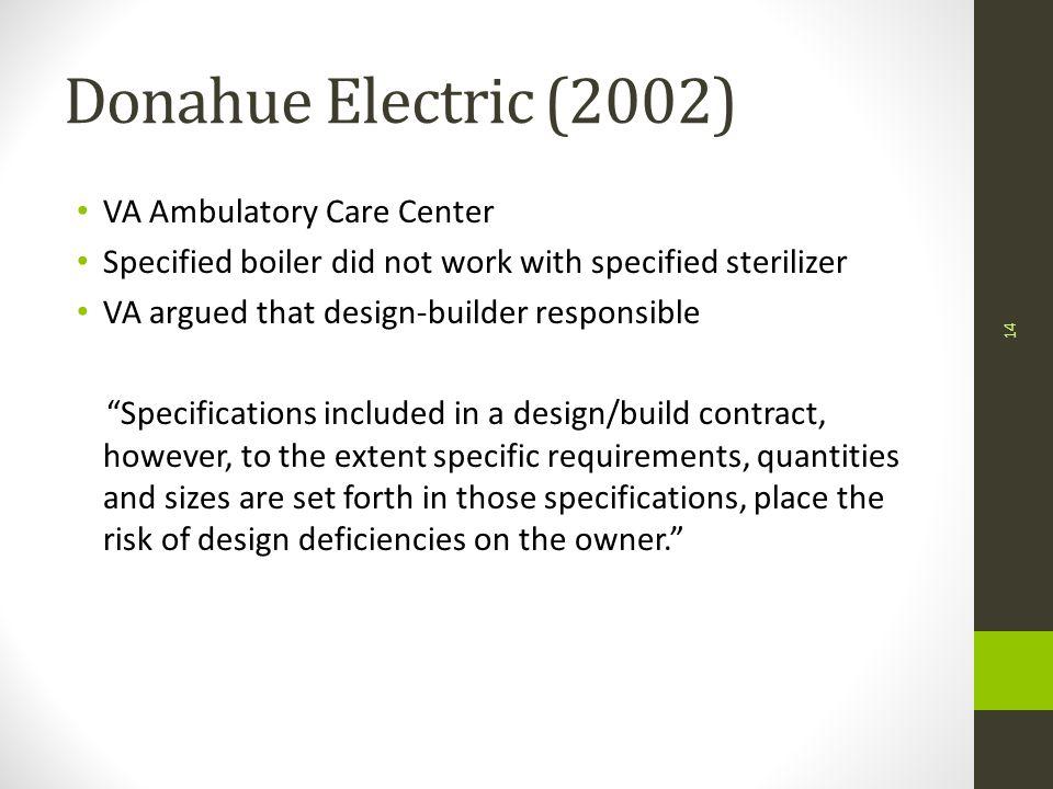 Donahue Electric (2002) VA Ambulatory Care Center