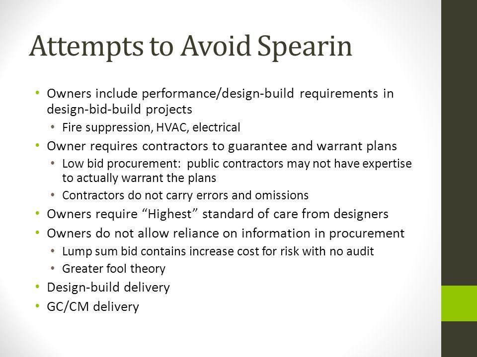 Attempts to Avoid Spearin