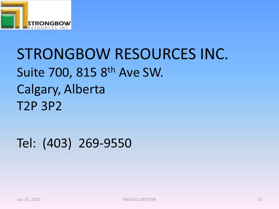 STRONGBOW RESOURCES INC.