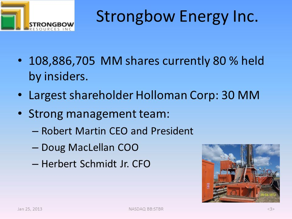 Strongbow Energy Inc. 108,886,705 MM shares currently 80 % held by insiders. Largest shareholder Holloman Corp: 30 MM.