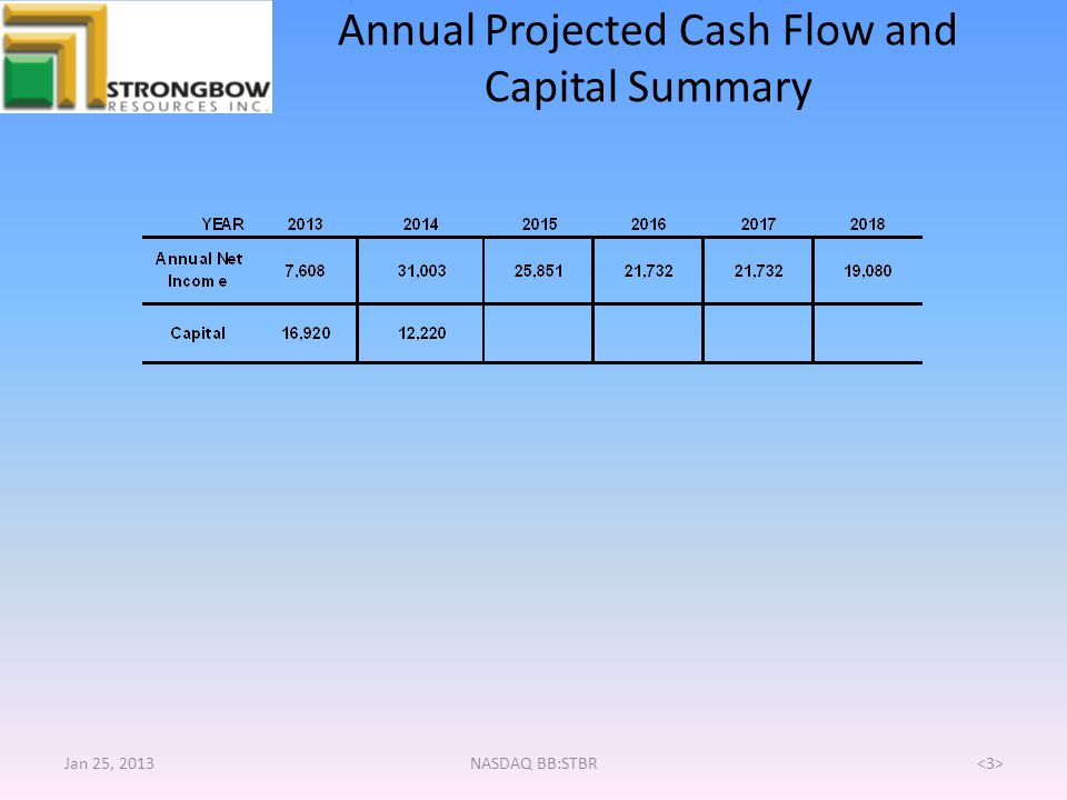 Annual Projected Cash Flow and Capital Summary