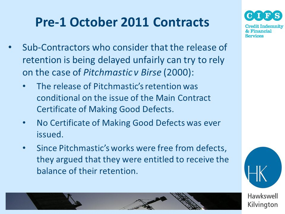 Pre-1 October 2011 Contracts