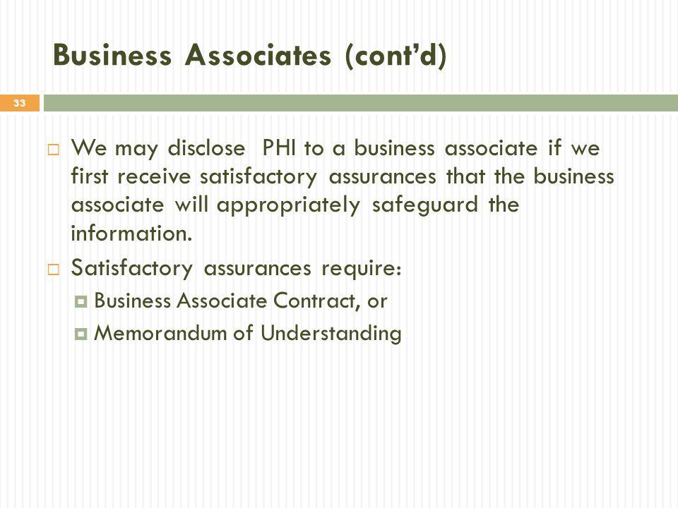 Business Associates (cont'd)