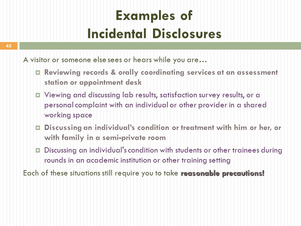 Examples of Incidental Disclosures