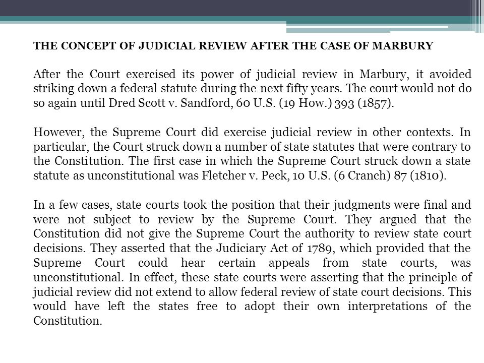 THE CONCEPT OF JUDICIAL REVIEW AFTER THE CASE OF MARBURY