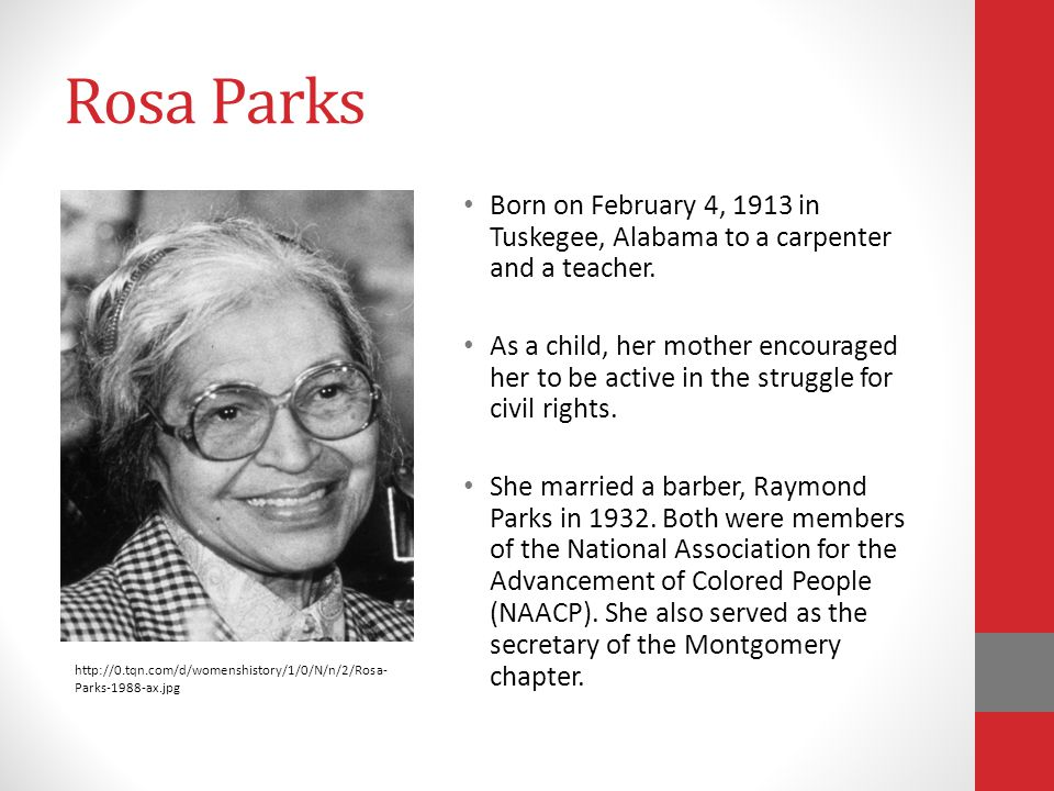 Rosa Parks Born on February 4, 1913 in Tuskegee, Alabama to a carpenter and a teacher.