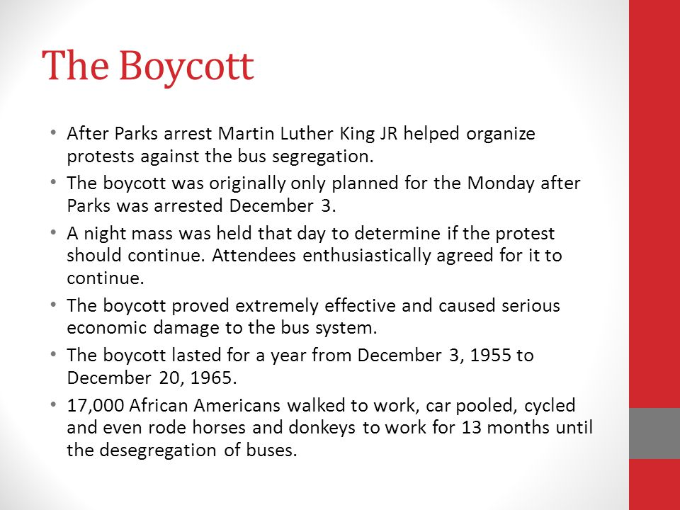 The Boycott After Parks arrest Martin Luther King JR helped organize protests against the bus segregation.