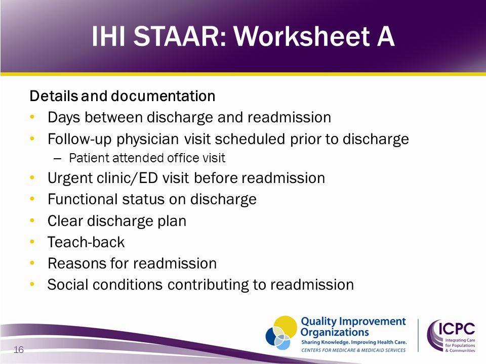 IHI STAAR: Worksheet A Details and documentation