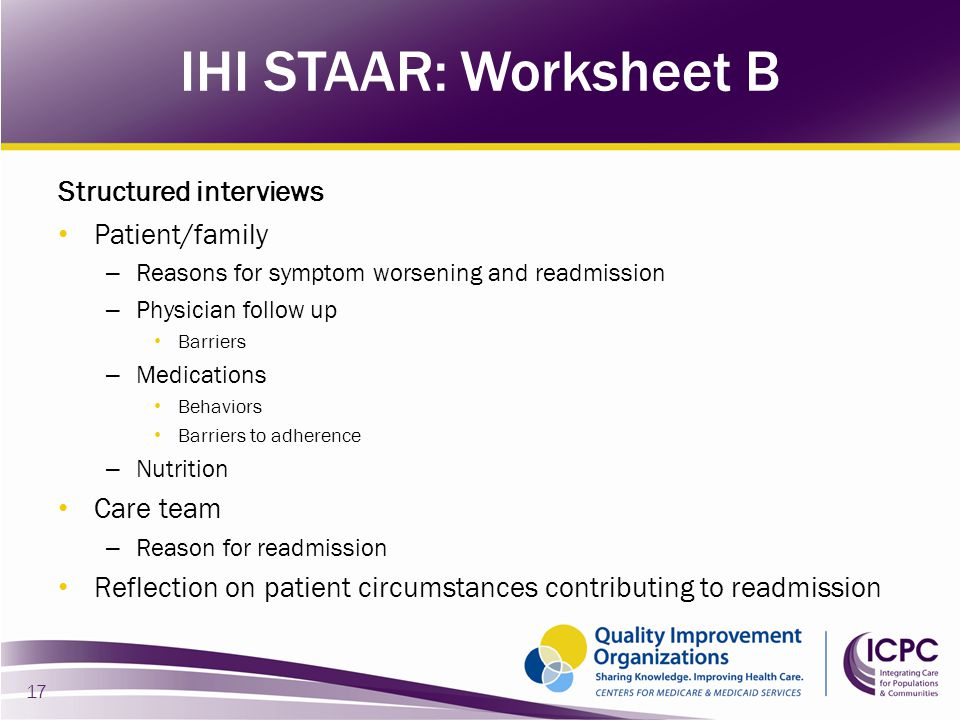 IHI STAAR: Worksheet B Structured interviews Patient/family Care team