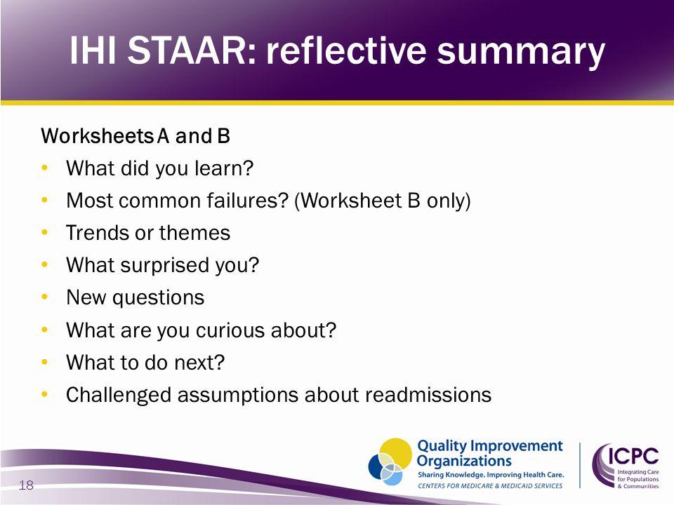 IHI STAAR: reflective summary