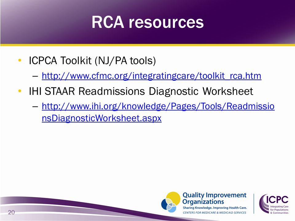 RCA resources ICPCA Toolkit (NJ/PA tools)