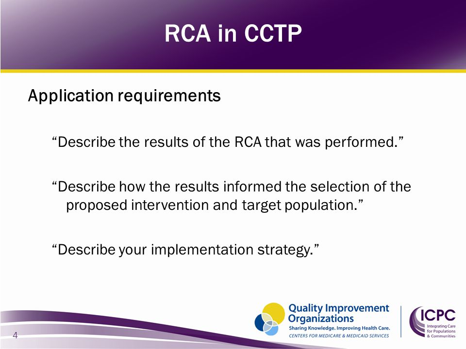 RCA in CCTP Application requirements
