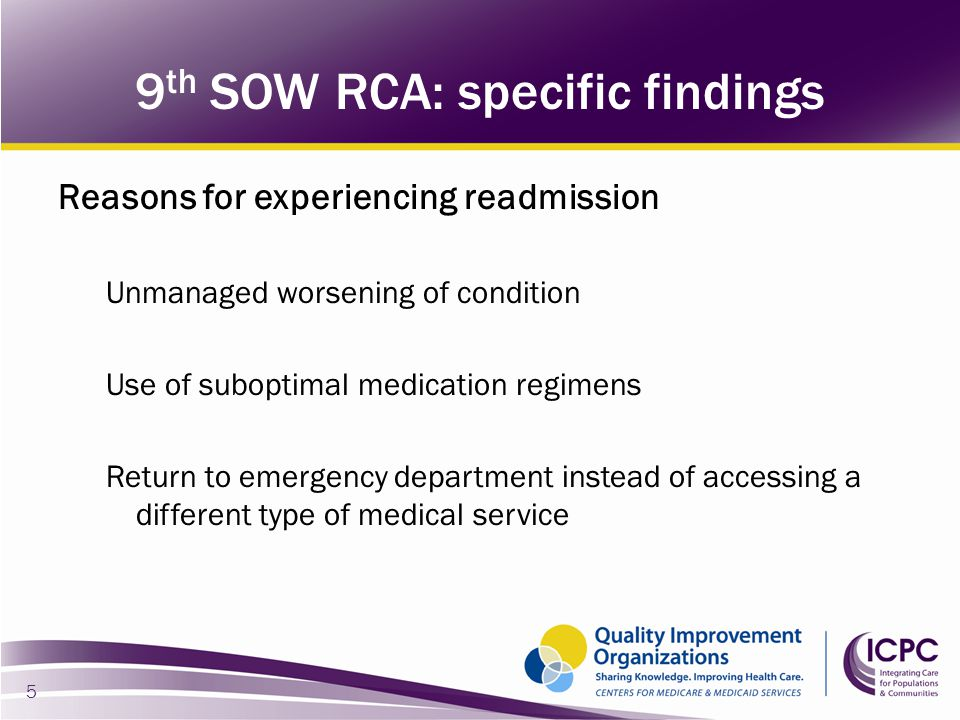 9th SOW RCA: specific findings