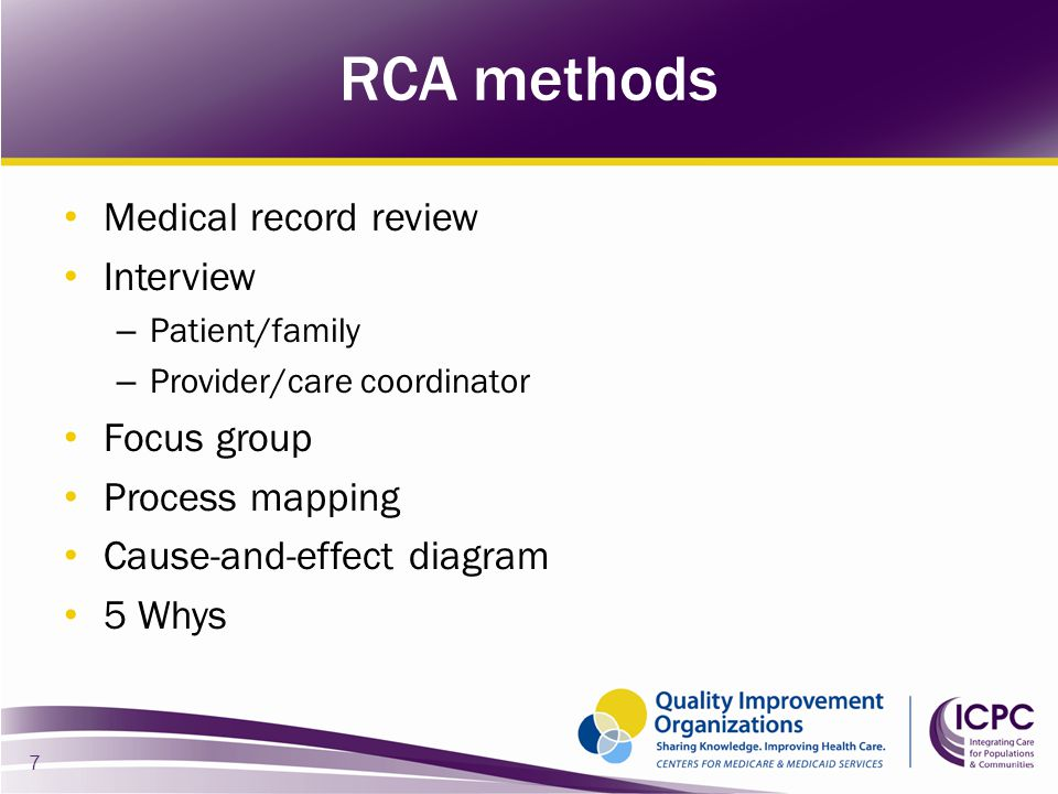 RCA methods Medical record review Interview Focus group