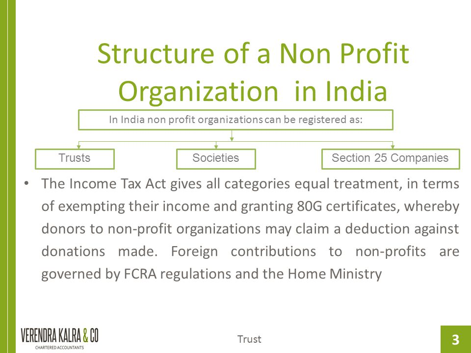 Structure of a Non Profit Organization in India