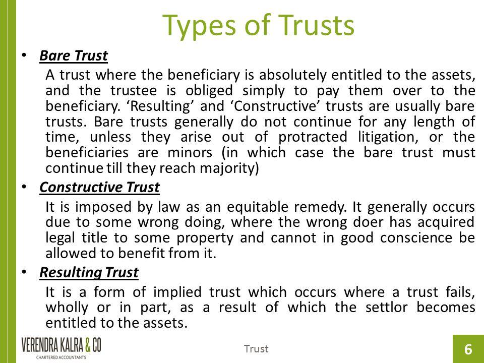 Types of Trusts Bare Trust