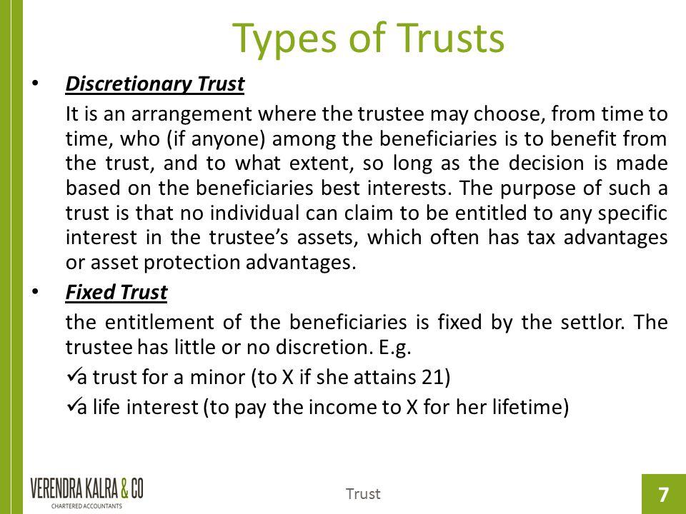 Types of Trusts Discretionary Trust