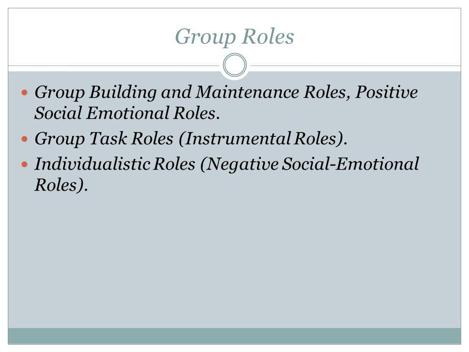 Group Roles Group Building and Maintenance Roles, Positive Social Emotional Roles. Group Task Roles (Instrumental Roles).