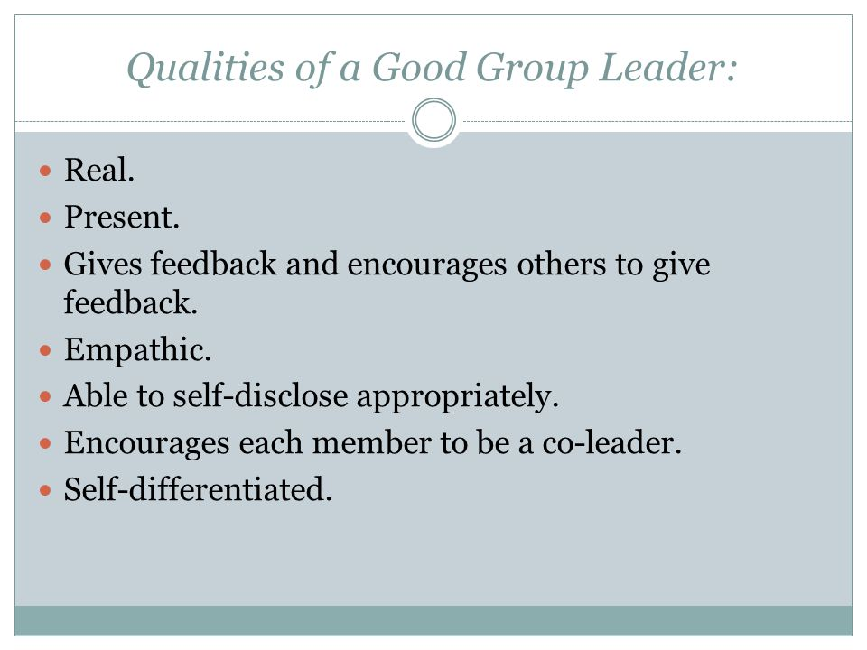 Qualities of a Good Group Leader: