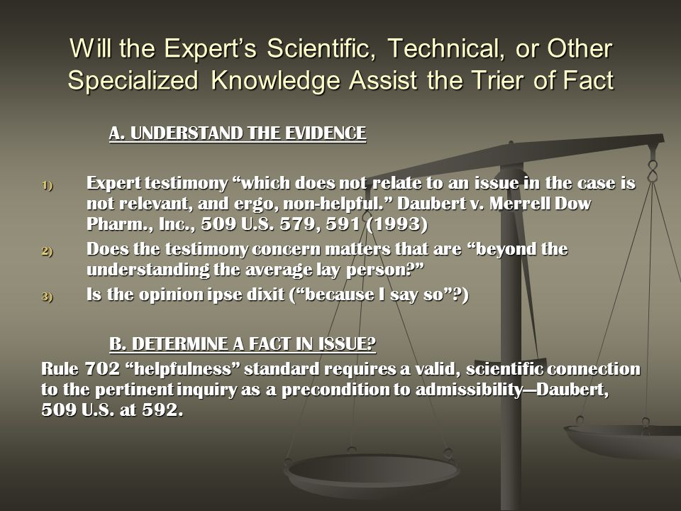 Will the Expert's Scientific, Technical, or Other Specialized Knowledge Assist the Trier of Fact