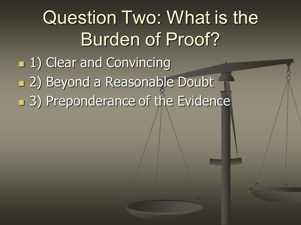 Question Two: What is the Burden of Proof