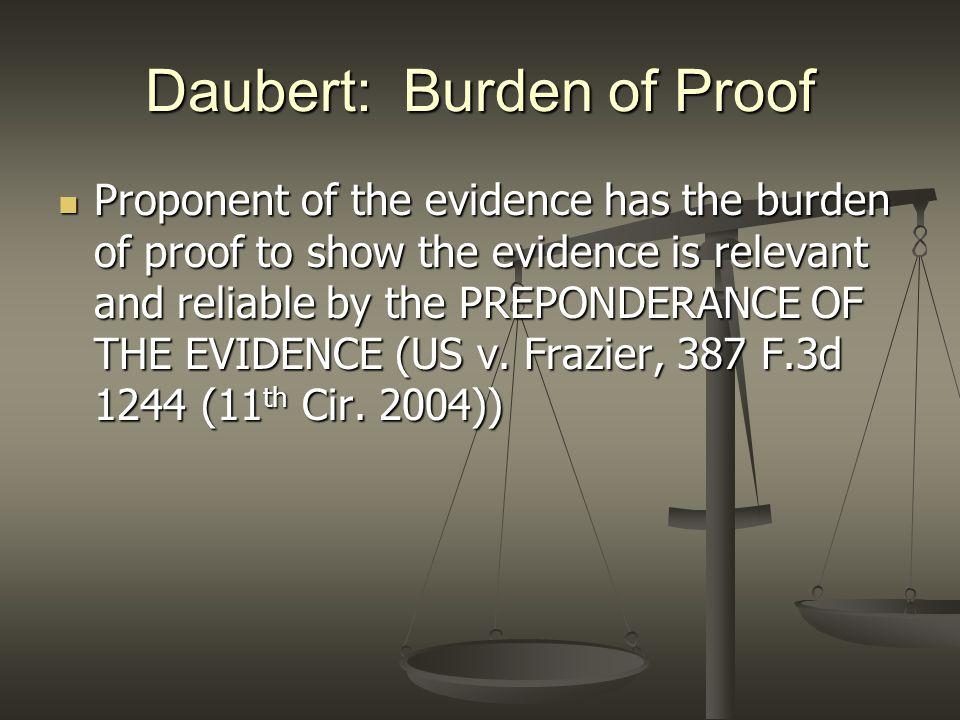 Daubert: Burden of Proof