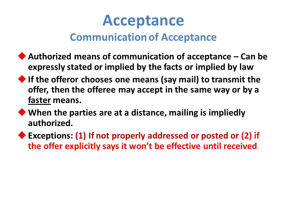 Acceptance Communication of Acceptance