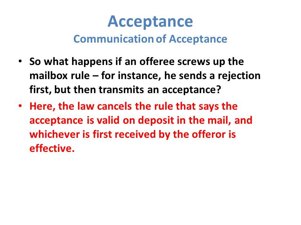 Acceptance Communication of Acceptance
