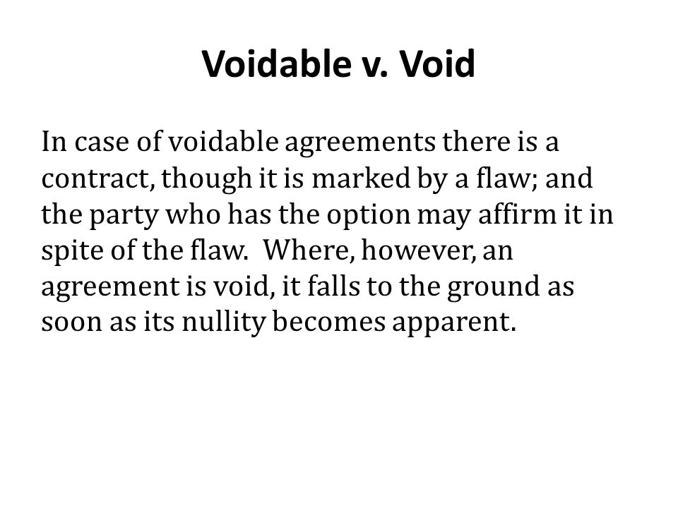 Voidable v. Void