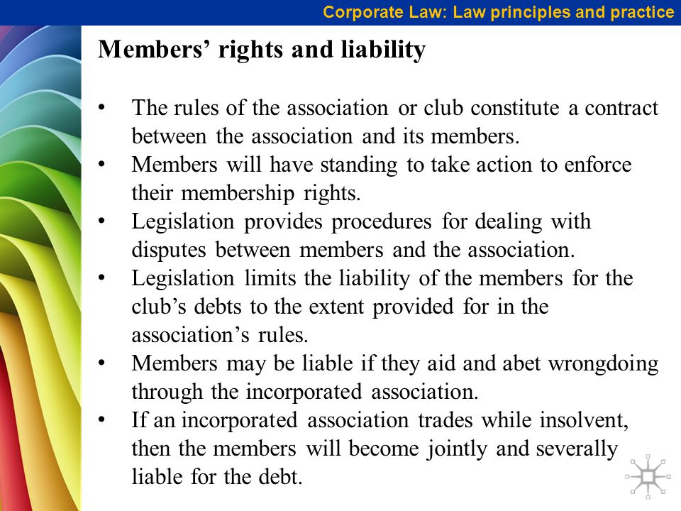 Members' rights and liability