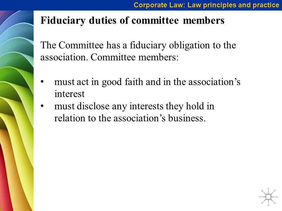 Fiduciary duties of committee members