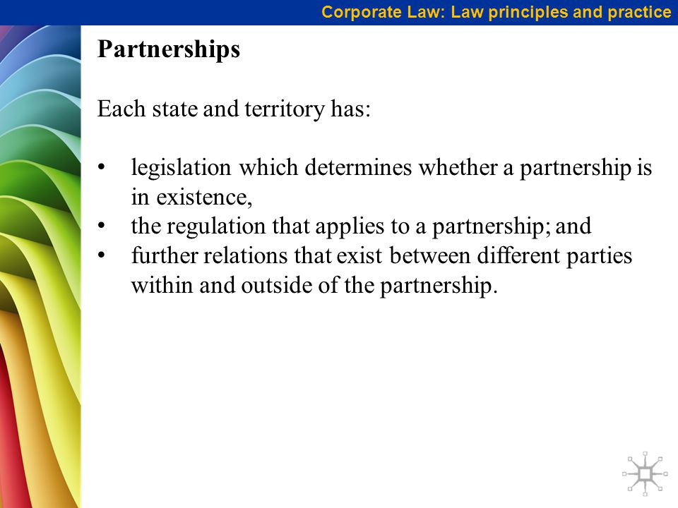 Partnerships Each state and territory has: