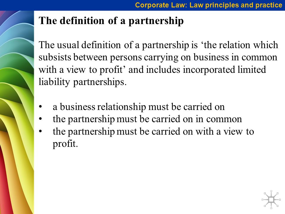 The definition of a partnership