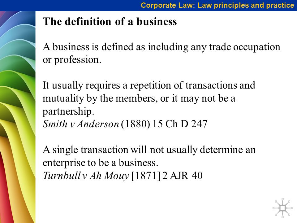 The definition of a business