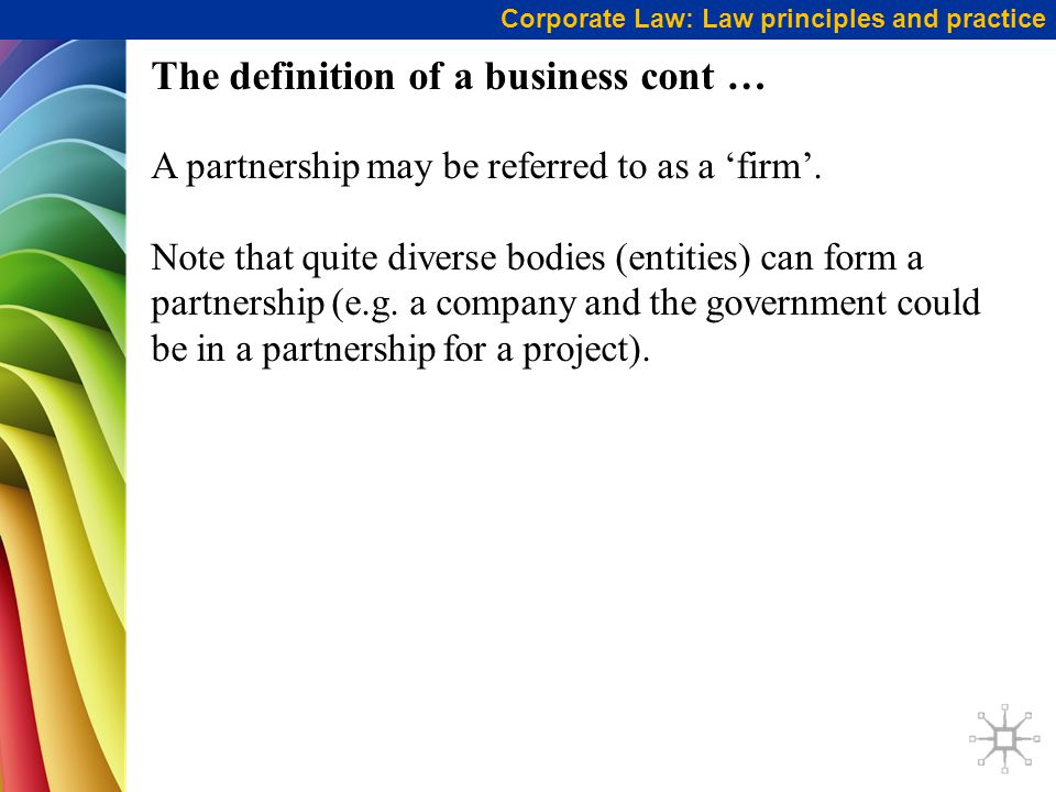 The definition of a business cont …