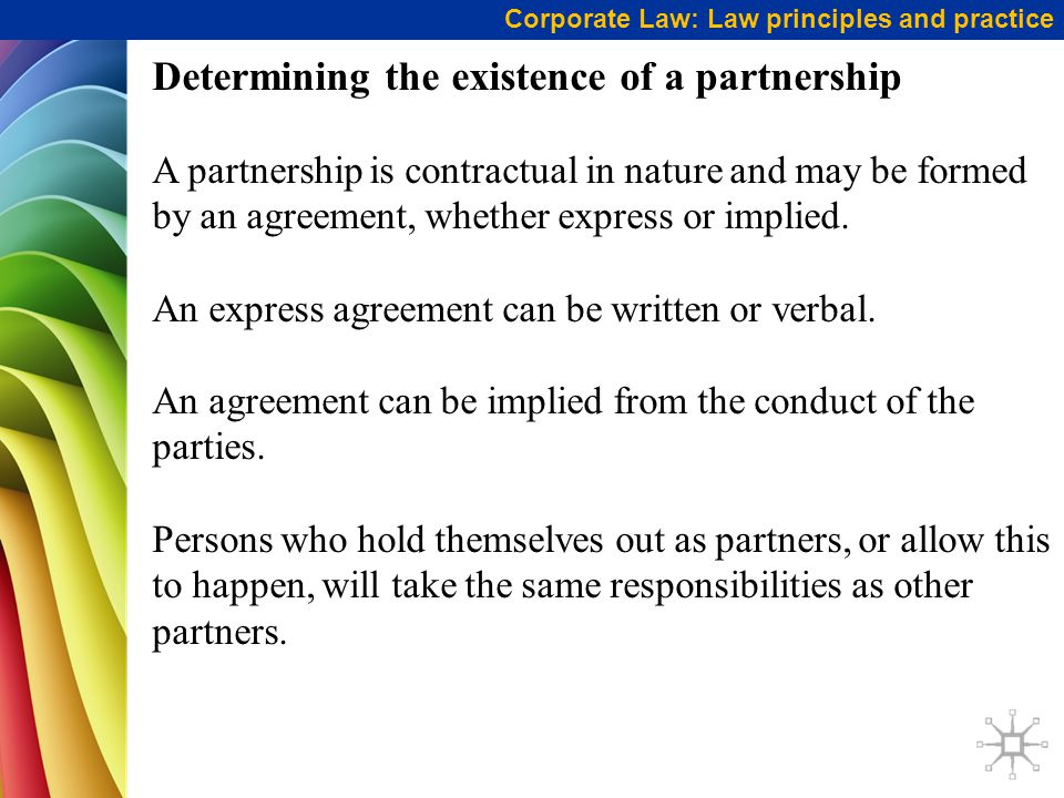 Determining the existence of a partnership