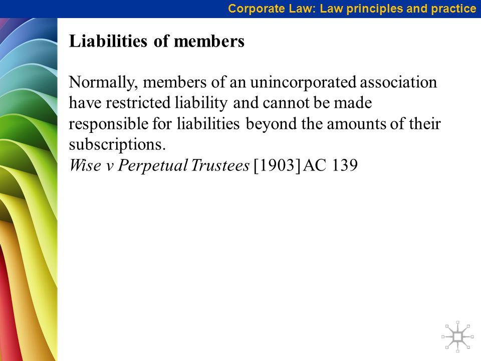 Liabilities of members