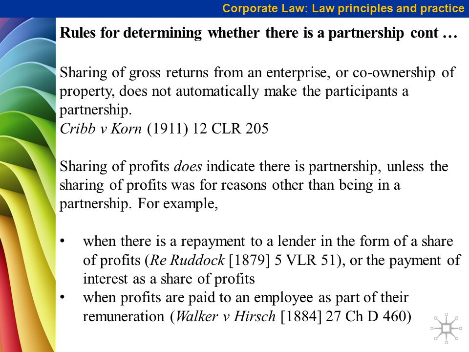 Rules for determining whether there is a partnership cont …