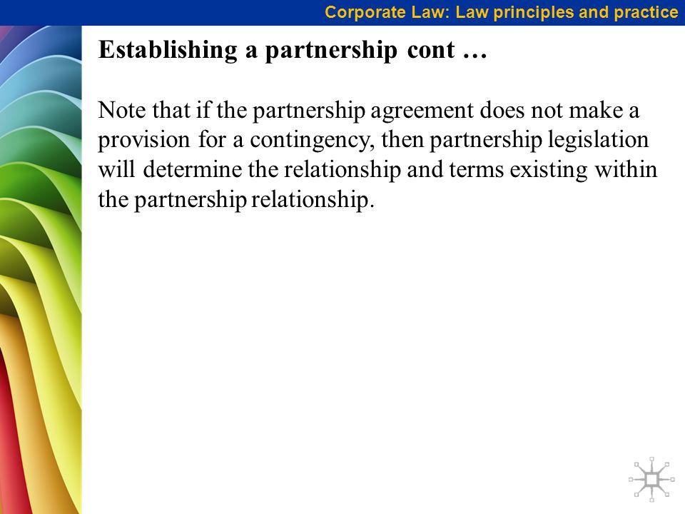 Establishing a partnership cont …