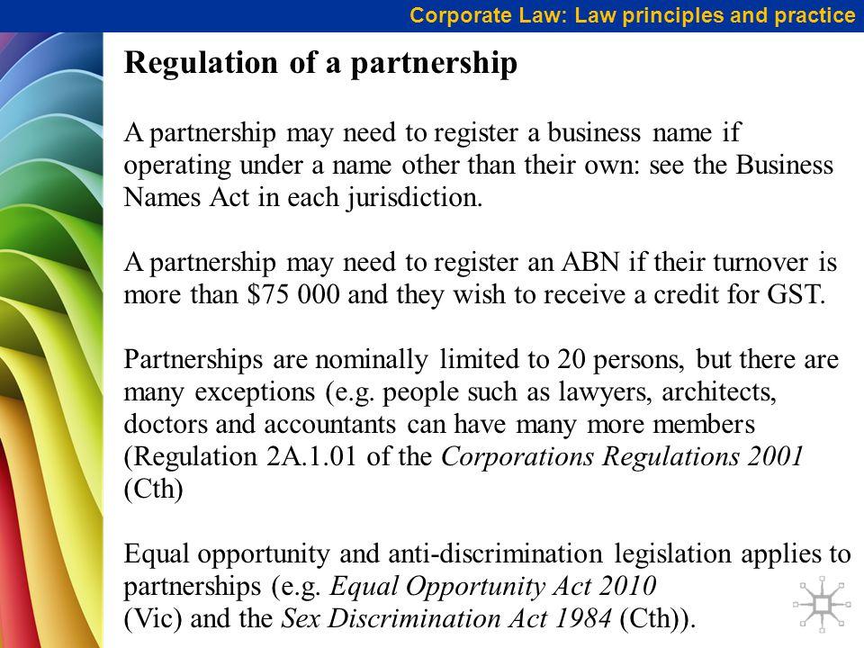 Regulation of a partnership