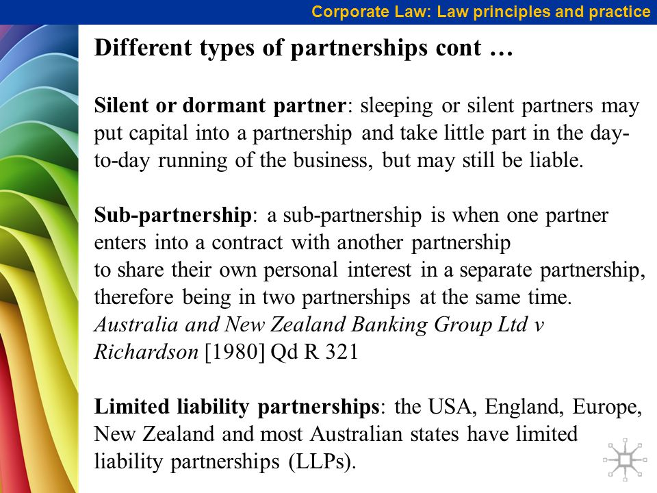 Different types of partnerships cont …