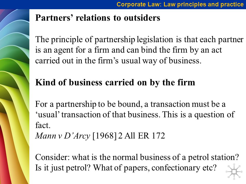 Partners' relations to outsiders