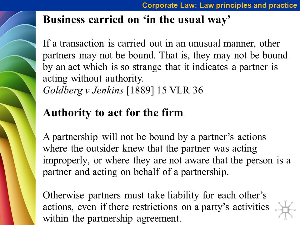 Business carried on 'in the usual way'