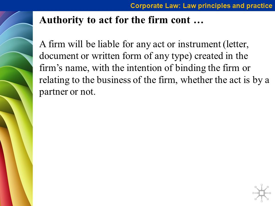Authority to act for the firm cont …