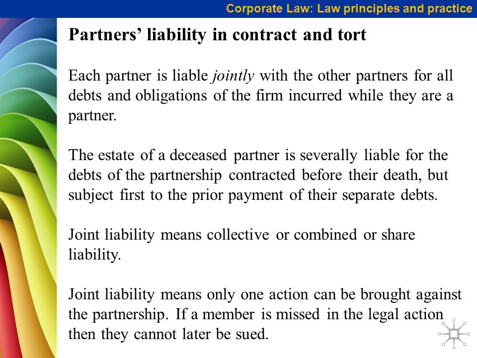 Partners' liability in contract and tort