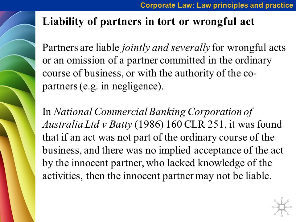 Liability of partners in tort or wrongful act